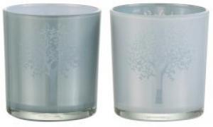 2ks sklenené svietniky na čajovú sviečku s motívom stromu modrý / biely - Ø 7 * 8 cm