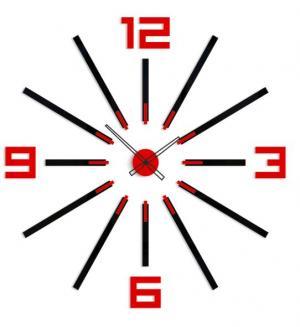 3D nalepovacie hodiny Big Sheen čierno-červené