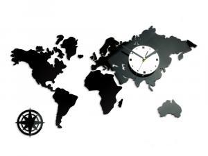 3D nalepovacie hodiny Continents čierno-biele