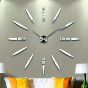 3D Nalepovacie hodiny DIY Clock BIG Twelve C1, strieborné 80-130cm