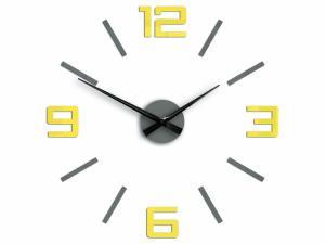 3D nalepovacie hodiny Reden sivo-žlté