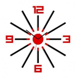 3D nalepovacie hodiny Sheen čierno-červené