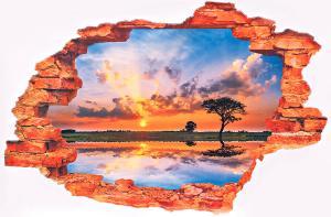 3D Samolepka Západ slnka