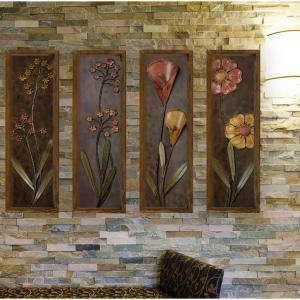 4-dielny nástenný obraz Dark Flower