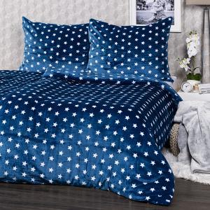 4Home obliečky mikroflanel Stars modrá, 140 x 220 cm, 70 x 90 cm, 140 x 220 cm, 70 x 90 cm