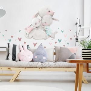Akvarelová nálepka na stenu - Rodinka zajačikov so srdiečkami