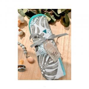 AMAL Deka mušelinová obojstranná, tyrkysové listy + bodky, 75x75 cm