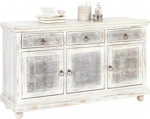 Ambia Home KOMODA, mangové drevo, sivá, biela, 145/85/45 cm - sivá, biela