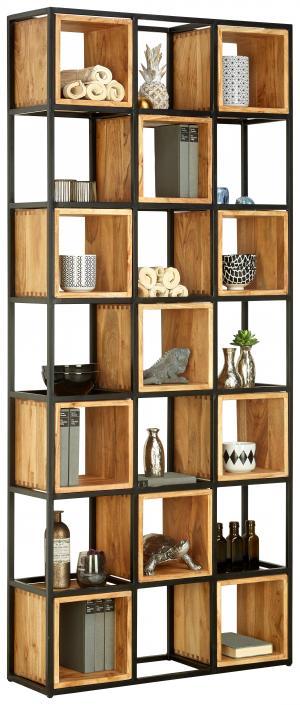 Ambia Home REGÁL, čierna, farby akácie, železo, akácia, 78/180/24 cm - čierna, farby akácie