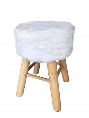 Ambia Home TABURET, drevo, textil, kompozitné drevo, 28/42 cm - prírodné farby, biela