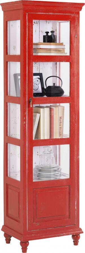 Ambia Home VITRÍNA, mangové drevo, červená, 48/164/33 cm - červená