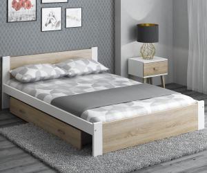AMI nábytok Posteľ DMD3 90x200cm biela+dub sonoma