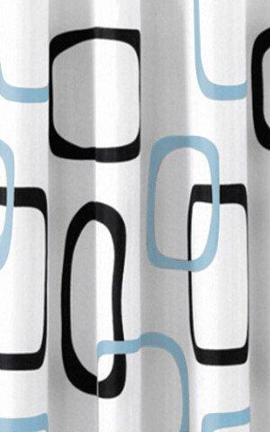 Aqualine ZP004 sprchový záves 180x200cm, polyester, biely/čierny/modrý