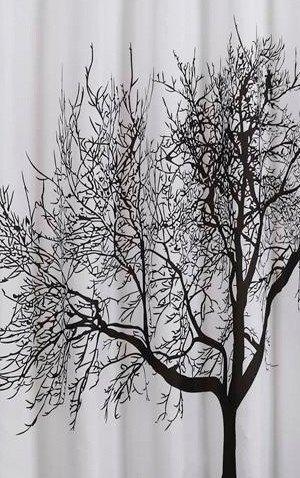 Aqualine ZP008 sprchový záves 180x200cm, polyester, čierny/biely, strom