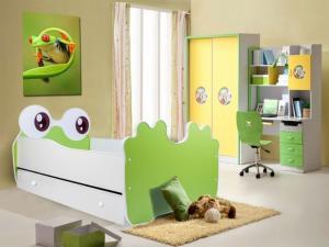 ArtAdr Detská posteľ zvieratko 160x80 Farba: bielo / zelená žabka