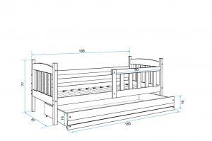 ArtAJ Detská posteľ Kubuš P | 190 x 80 cm Farba: Sivá/sivá, Prevedenie: s matracom, MDF