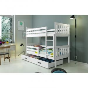 ArtBms Detská poschodová posteľ Carino so zásuvkou biela / biela