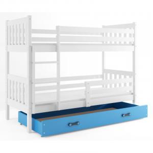 ArtBms Detská poschodová posteľ Carino so zásuvkou biela / modrá