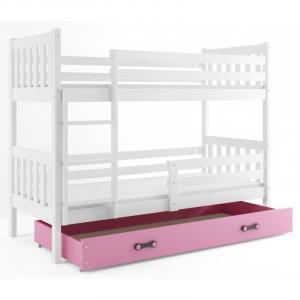 ArtBms Detská poschodová posteľ Carino so zásuvkou biela / ružová