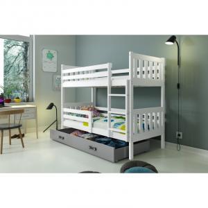 ArtBms Detská poschodová posteľ Carino so zásuvkou biela / sivá