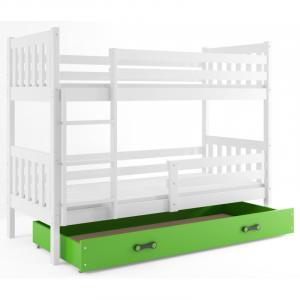 ArtBms Detská poschodová posteľ Carino so zásuvkou biela / zelená