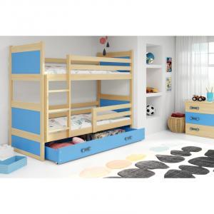 ArtBms Detská poschodová posteľ Rico borovica / modrá