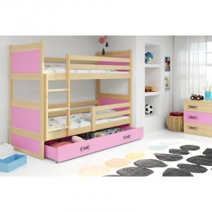 ArtBms Detská poschodová posteľ Rico borovica / ružová