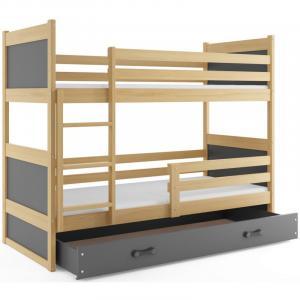 ArtBms Detská poschodová posteľ Rico borovica / sivá
