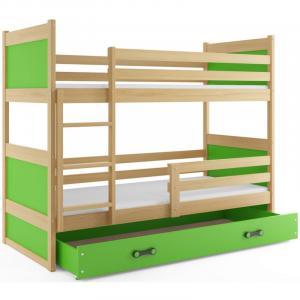 ArtBms Detská poschodová posteľ Rico borovica / zelená