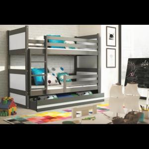 ArtBms Detská poschodová posteľ Rico grafit / biela