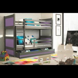 ArtBms Detská poschodová posteľ Rico grafit / fialová