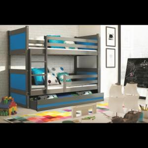 ArtBms Detská poschodová posteľ Rico grafit / modrá