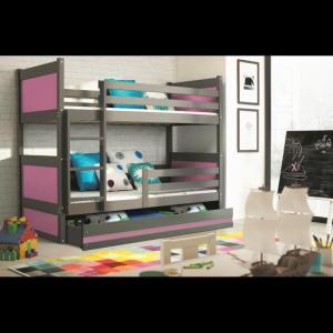 ArtBms Detská poschodová posteľ Rico grafit / ružová