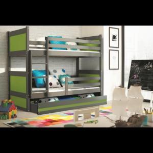 ArtBms Detská poschodová posteľ Rico grafit / zelená