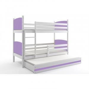 ArtBms Detská poschodová posteľ Tami 3 biela / fialová