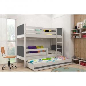ArtBms Detská poschodová posteľ Tami 3 biela / sivá