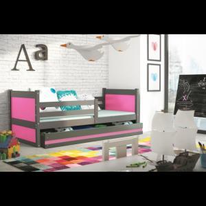 ArtBms Detská posteľ Rico 1 grafit / ružová