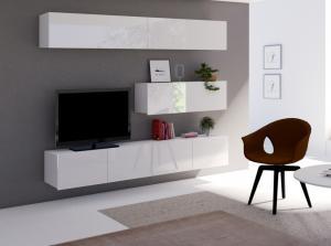 ArtElb Obývacia stena CALABRINI VIII Farba: Dub zlatý / biela-biely lesk