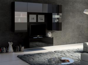 ArtElb Obývacia stena CALABRINI X Farba: čierna / čierny lesk