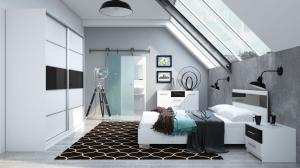 ArtStol Manželská posteľ Dubaj Farba: biela / fialový lesk