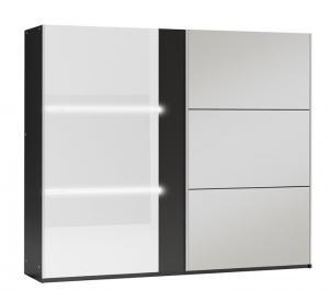 ArtStol Šatníková skriňa TUNIS 250 Farba: Sivá / biele lesklé sklo / číre sklo