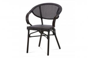 AUTRONIC AZC-110 BK záhradná stolička, kov hnedý, textil čierny
