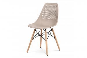 AUTRONIC CT-521 CAP jedálenská stolička, cappuccino plast, masiv prírodný buk, kov čierny