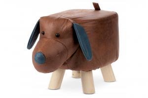 AUTRONIC LA2011 Taburetka - pes, poťah hnedá látka v dekore vintage kože, masívne nohy z kaučukovníku v prírodnom odtieni