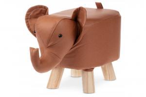 AUTRONIC LA2012 Taburetka - slon, poťah škoricovo hnedá látka v dekore kože, masívne nohy z kaučukovníku v prírodnom odtieni