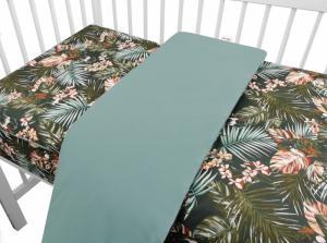 BABY NELLYS - 2-dielne bavlnené obliečky, Papagáj - zelená
