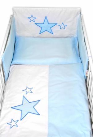 BABY NELLYS - 5-dielna súprava do postieľky Baby Stars - modrá, veľkosť 135x100 cm