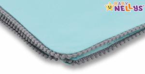BABY NELLYS - Letná deka s mini brmbolcami, jersey, 100 x 75 cm - mätová/sivý lem