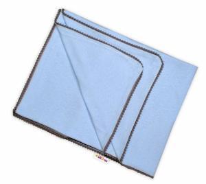 BABY NELLYS - Letná deka s mini brmbolcami, jersey, 100 x 75 cm - sv. modrá/sivý lem