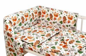 BABY NELLYS - Mantinel s obliečkami - Lesná školka, biely, 135 x 100